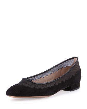 Wavy Tulle Ballerina Flat, Black