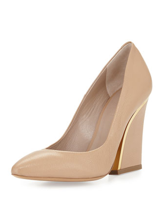 Metal-Trim Leather Pump, Nude