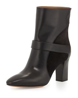 Leather Chunky-Heel Boot, Black
