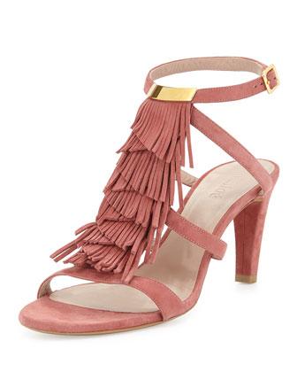 Suede Strappy Fringe Sandal, Pink