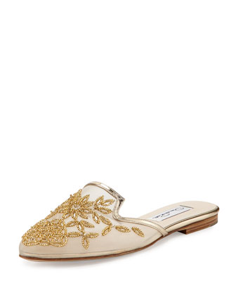 Lynda Embroidered Spanish Mule, Platinum