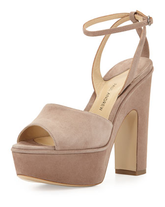 Suede Chunky-Heel Platform Sandal, Taupe