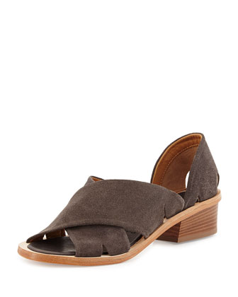 Trino Cross-Strap Sandal, Gray