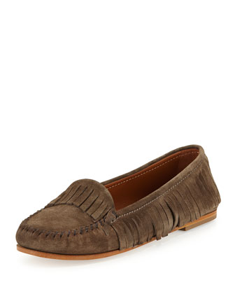 Suede Fringed Moccasin, Dust