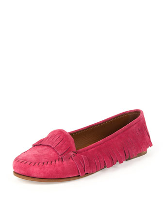 Suede Fringed Moccasin, Rose
