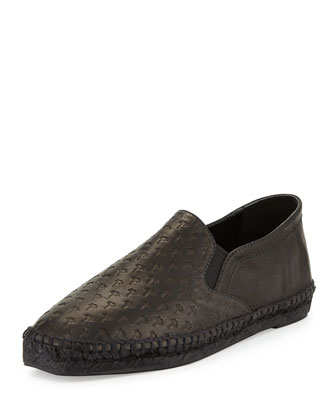 Embossed Leather Espadrille Flat, Black