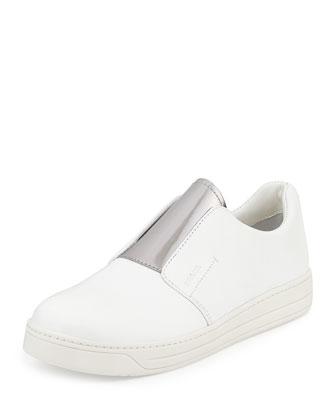 Pantofole Slip-On Leather Sneaker, White/Chrome (Bianco+Cromo)