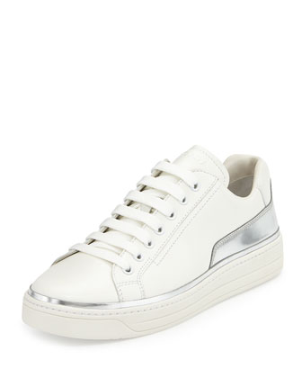 Leather Lace-Up Sneaker, White/Silver