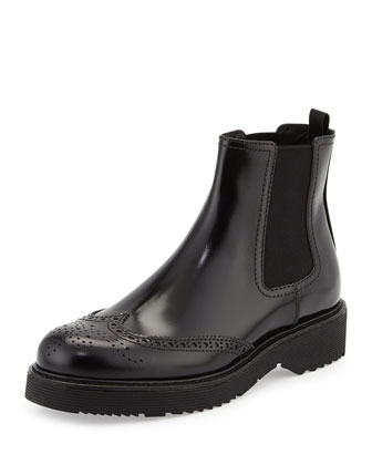 Leather Wing-Tip Chelsea Boot, Black