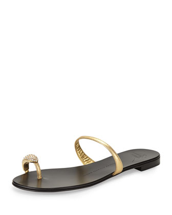 Metallic Crystal Toe Ring Sandal, Gold