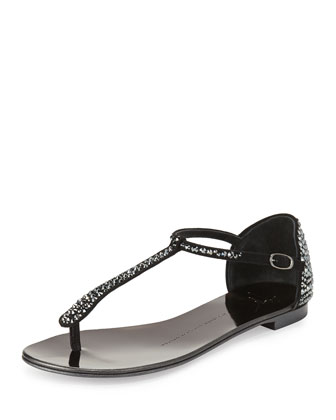 Crystal Suede T-Strap Thong Sandal, Nero