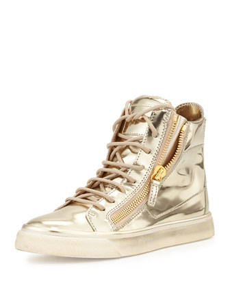 Mirrored High-Top Zip Sneaker, Platino