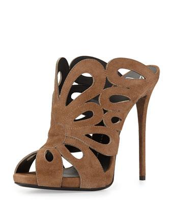 Suede Cutout Slide Sandal, Beige