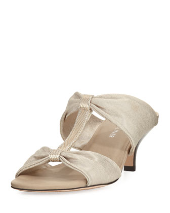 Randi Double-T Stretch Sandal, Platino