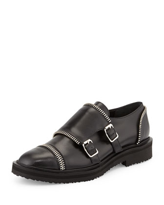 Zip-Trim Leather Monk Loafer, Black