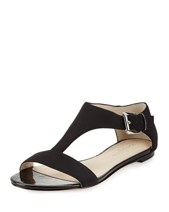 Tami Crepe T-Strap Sandal, Black