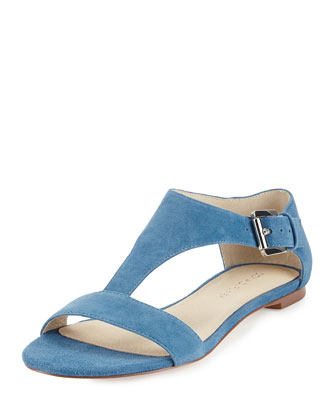 Tami Suede T-Strap Sandal, Blue