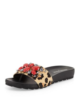 Trena Calf-Hair Sandal Slide, Leopard