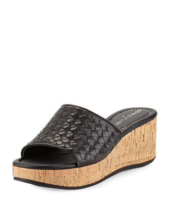 Safari Woven Wedge Sandal, Black