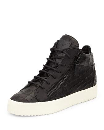 Croc-Embossed Low-Top Sneaker, Black