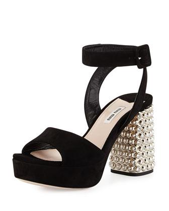 Suede Sparkle-Heel Sandal, Black (Nero)