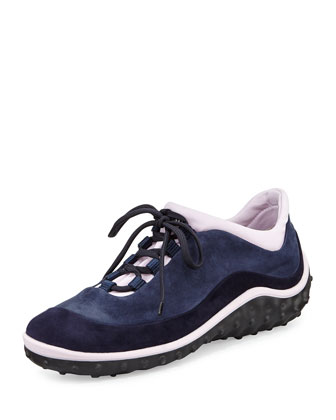 Suede Lace-Up Sneaker, Blue