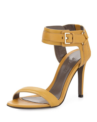 Leather Ankle-Cuff Sandal, Gold