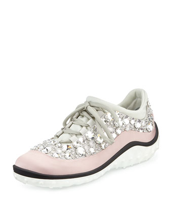 Jeweled Satin Lace-up Sneaker