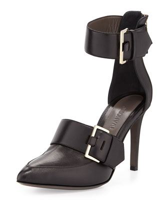 Pointed-Toe Double-Buckle Pump, Black