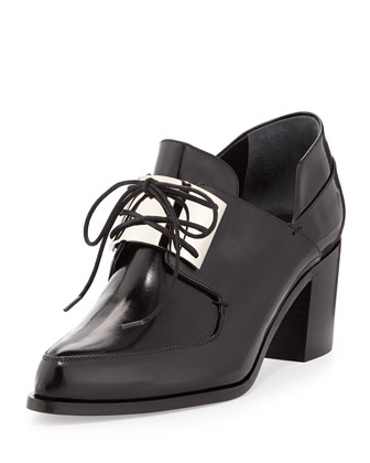 Metal-Vamp Oxford Chunky Heel Pump, Black