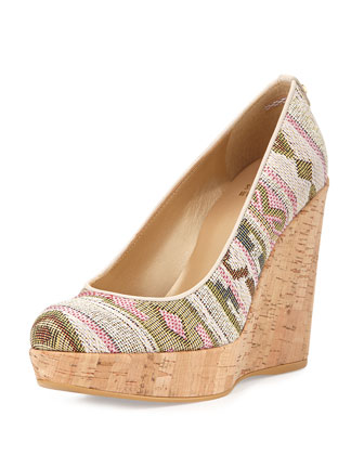 Corkswoon Jacquard Wedge Pump (Made to Order), Pink