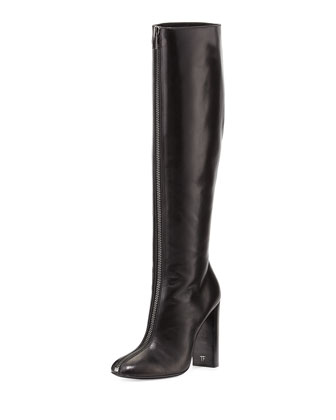 Zip-Front Calf Leather Knee Boot, Black