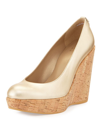 Corkswoon Metallic Leather Wedge Pump, Cava