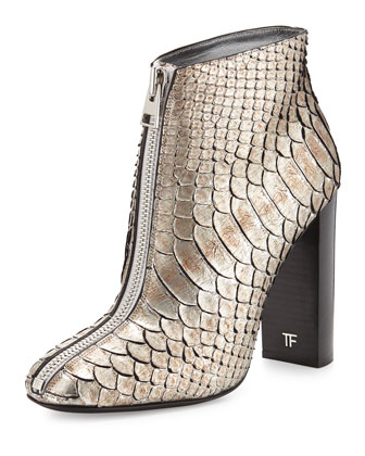 Front-Zip Python Ankle Boot, Antique Silver