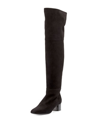 Suede Over-the-Knee Boot, Black