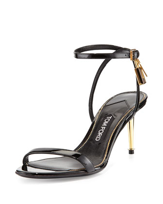 Patent Leather Ankle-Lock Sandal, Black