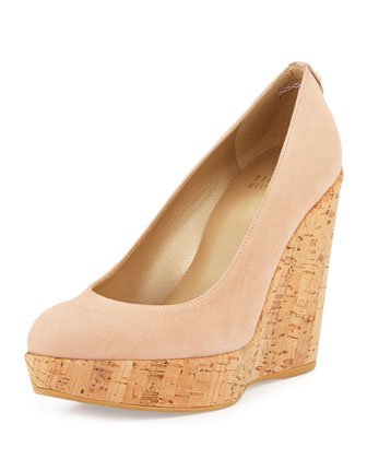 Corkswoon Suede Wedge Pump (Made to Order), Bisque