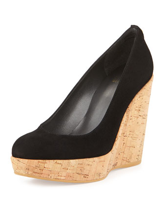 Corkswoon Suede Wedge Pump (Made to Order), Black