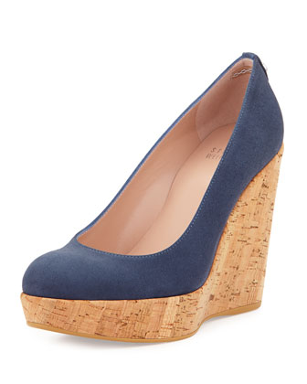 Corkswoon Suede Wedge Pump (Made to Order), Blue Jeans