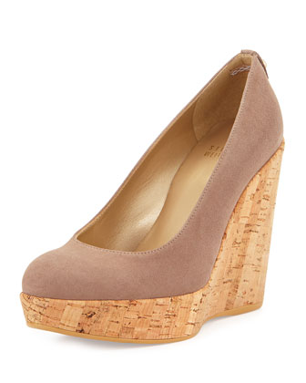 Corkswoon Suede Wedge Pump (Made to Order), Haze