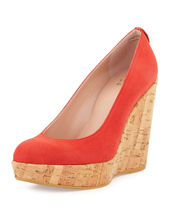 Corkswoon Suede Wedge Pump, Lipstick