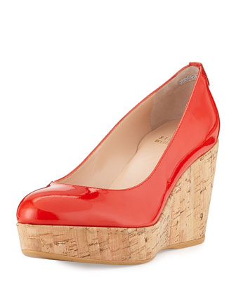 Logoyork Patent Wedge Pump (Made to Order), Pimento