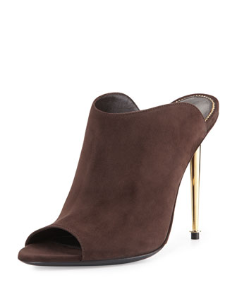 Open-Toe Suede Mule, Dark Brown