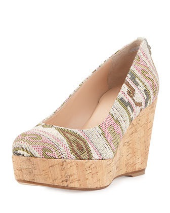 Logoyork Jacquard Wedge Pump (Made to Order), Pink