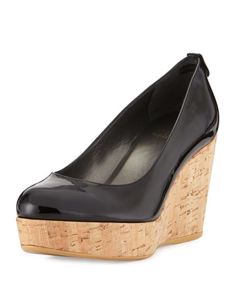 Logoyork Patent Wedge Pump (Made to Order), Black