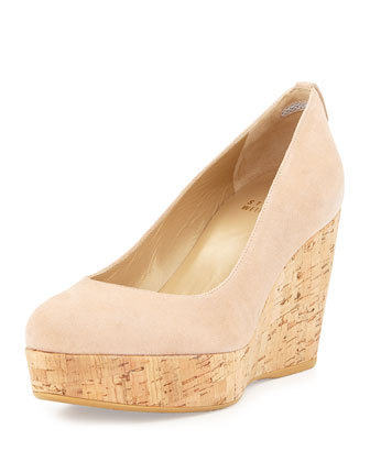 Logoyork Suede Wedge Pump (Made to Order), Bisque