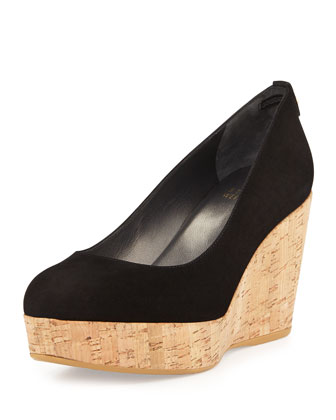 Logoyork Suede Wedge Pump (Made to Order), Black