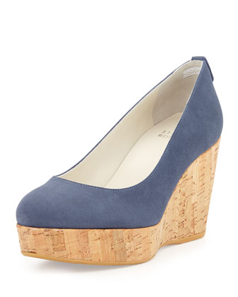 Logoyork Suede Wedge Pump, Blue Jeans