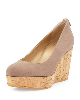 Logoyork Suede Wedge Pump (Made to Order), Haze