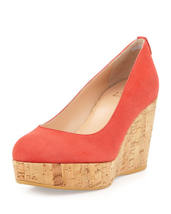 Logoyork Suede Wedge Pump (Made to Order), Lipstick